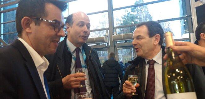 Salon de l'Agriculture, Paris (15e), 26.02.2020. Avec ses amis politiques Louis Giscard d'Estaing (UDI, Puy-de-Dôme) et Pierre Monzani, ancien préfet de l'Allier (2009-2011), qui, à son poste de directeur général de l'Assemblée des Départements de France (depuis 2015), n'a cessé d'agiter les peurs et les «fake news» à propos des jeunes dits «MNA». © Twitter @JM_Ferrier