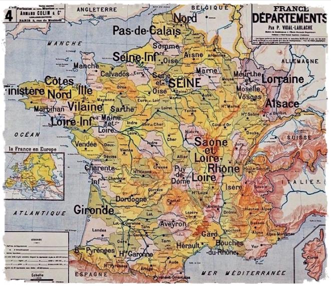 Carte des départements français par Vidal-Lablache