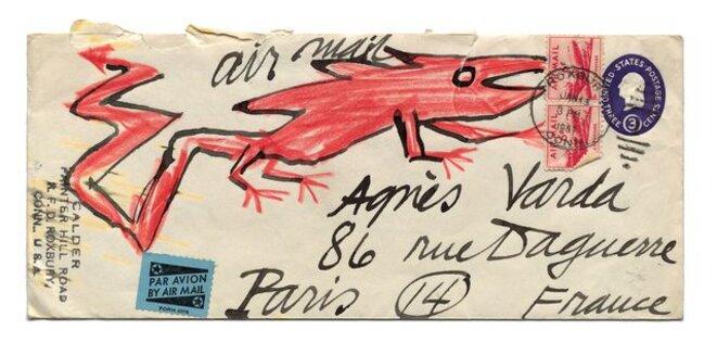 Lettre d'Alexandre Calder pour Agnès Varda, 1957. © Succession Varda/ Oscar Oiwa, Akichi, 2019