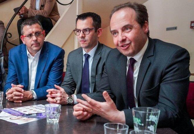 Moulins (Allier), 15.05.2019. Entre ses amis de l'UDI Yannick Lucot (délégué départemental) et Jean-Christophe Lagarde (président national). © Twitter @jclagarde