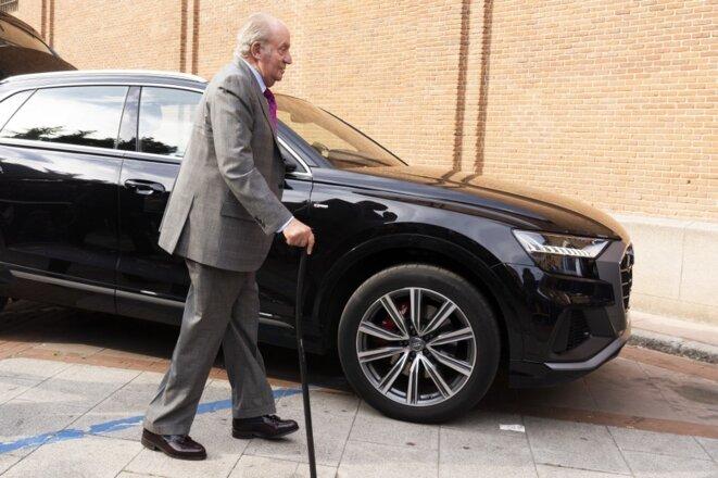 Juan Carlos I, l'ancien roi d'Espagne, se rend aux arènes de Madrid le 22 mai 2019. © Oscar Gonzalez/NurPhoto/AFP
