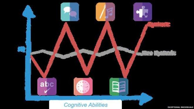 Graphique montrant les différences entre les compétences d'une personne qui peut être dyslexique et celles d'une personne considérée comme neurotypique. © Exceptionnals individuals