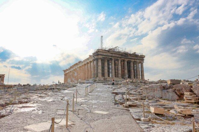 Une acropole d'Athènes désertée par les touristes le 7 juillet 2020. © Nicolas Economou/NurPhoto/AFP