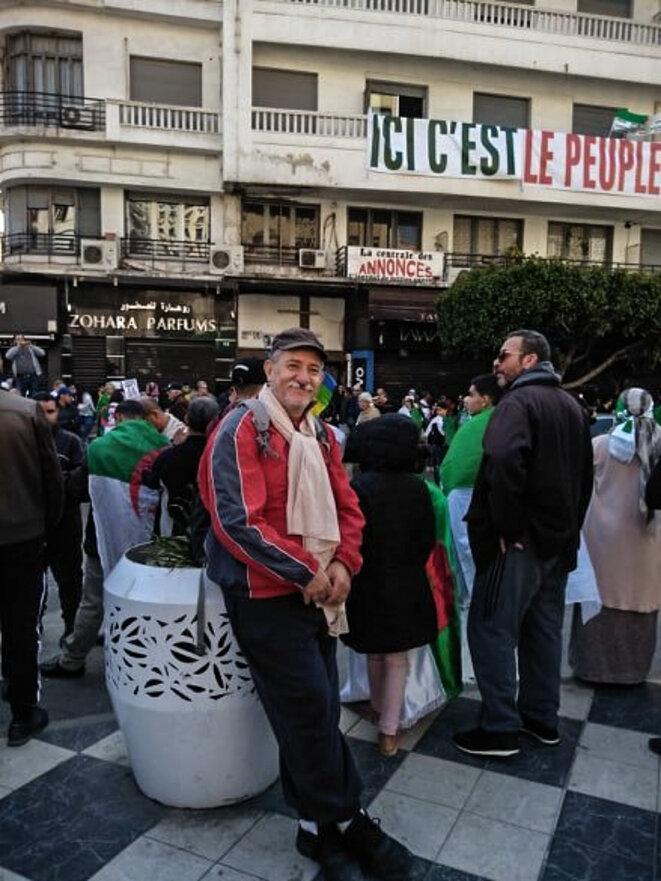 Djilali Hadjadj, à la fin d'une manifestation du Hirak au début de l'année 2020