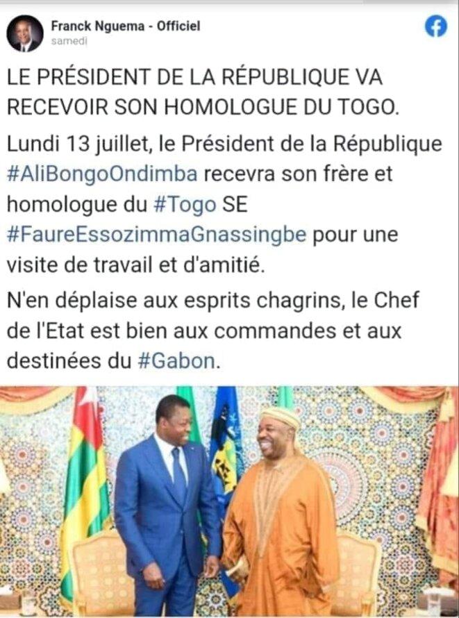 Le tweet triomphale duM.Franck Nguema,Ministregabonais en charge duSport