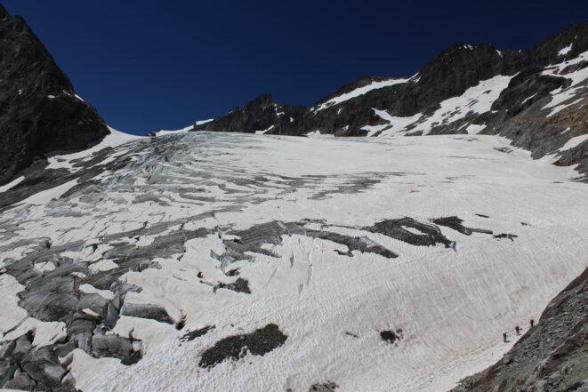 Dans la partie basse du glacier Blanc, juillet 2020. © FB
