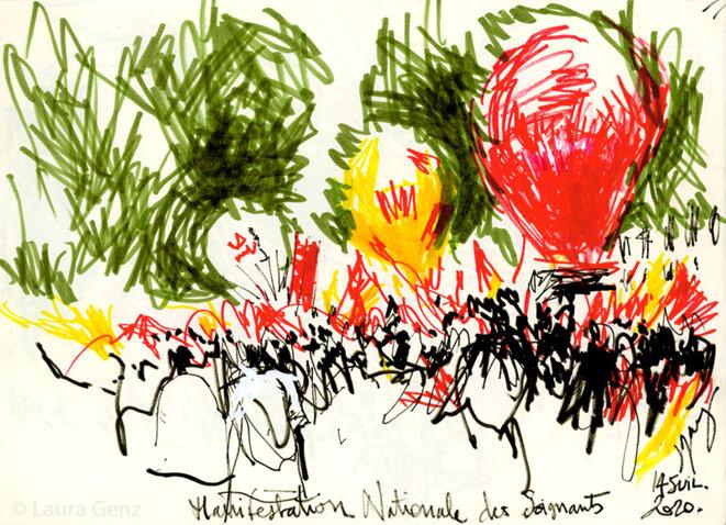 14 juillet 2020 | Manifestation nationale pour la Santé. Loin, bien loin de la Concorde… boulevard du Temple, Paris.