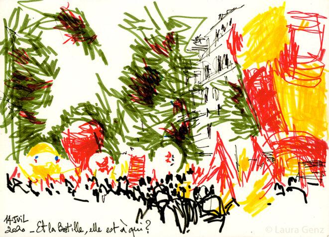 14 juillet 2020 | Et la Bastille, elle est à qui?… Manifestation nationale pour la Santé, boulevard du Temple, Paris.