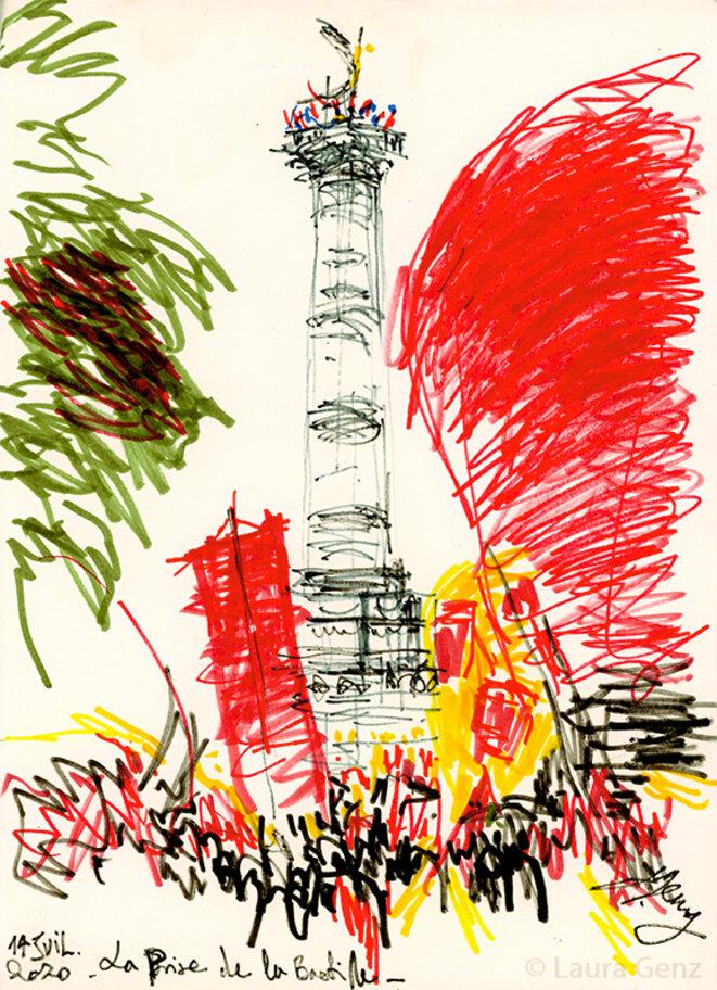 14 juillet 2020 | La Prise de la Bastille. Manifestation nationale pour la Santé, place de la Bastille, Paris.