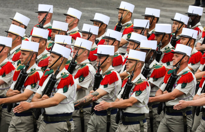Soldiers from the French Foreign Legion on Bastille Day, 2019, in Paris. © Ludovic MARIN / AFP