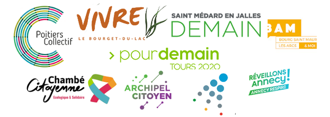 Logos de différentes listes citoyennes aux municipales 2020