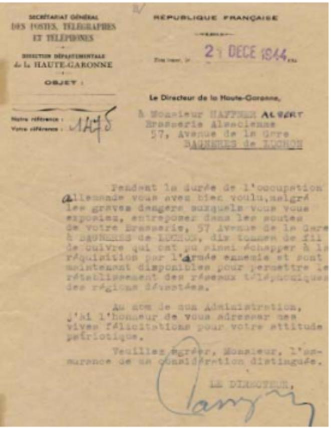 Remerciement des PTT © Archive Pierre HAFFNER