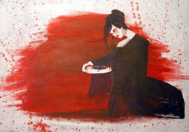 "Miashiki, acrylique. ""Hara Kiri"" © @Miashiki"