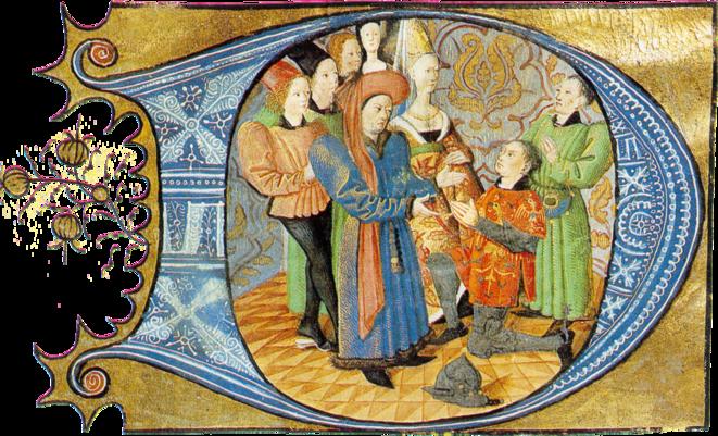 Charles d'Orléans reçoit l'hommage d'un vassal - Lettrine ornée, XVème siècle | © Archives Nationales