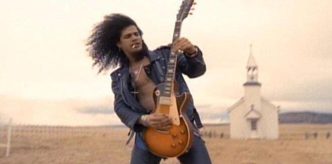 Slash's guitar solo, outside a church in the New Mexico desert