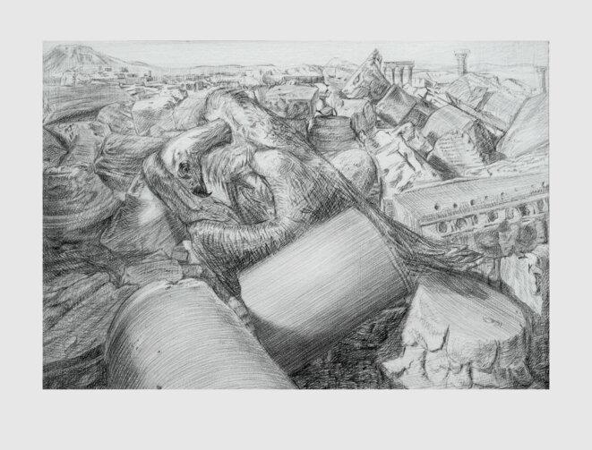 Iris Levasseur, Champ de bataille : vautour, pierre noire sur papier Ingres. © Iris Levasseur, courtesy galerie odile Ouizeman