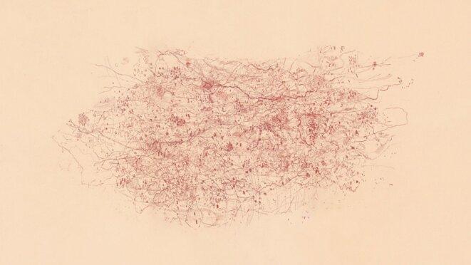 Les Echappées d'Âme, Eaux fortes imprimées sur papier japon Okawara, 100x74 cm, épreuve unique (2009). © Muriel Moreau