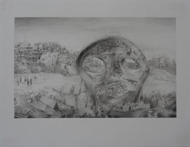 Iris Levasseur, Champ de bataille : Crâne, 2018, pierre noire sur papier Ingres, 50 x 65 cm © Iris Levasseur, courtesy galerie odile Ouizeman