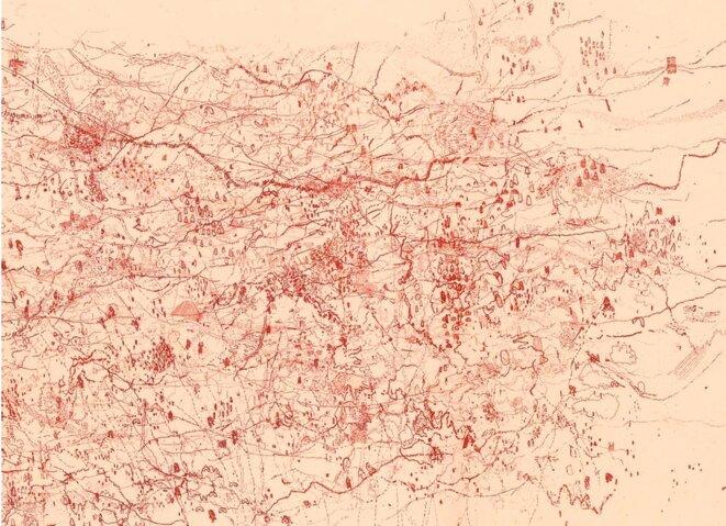 Les Echappées d'Âme, Eaux fortes imprimées sur papier japon Okawara, 100x74 cm, épreuve unique (2009). Détail. © Muriel Moreau