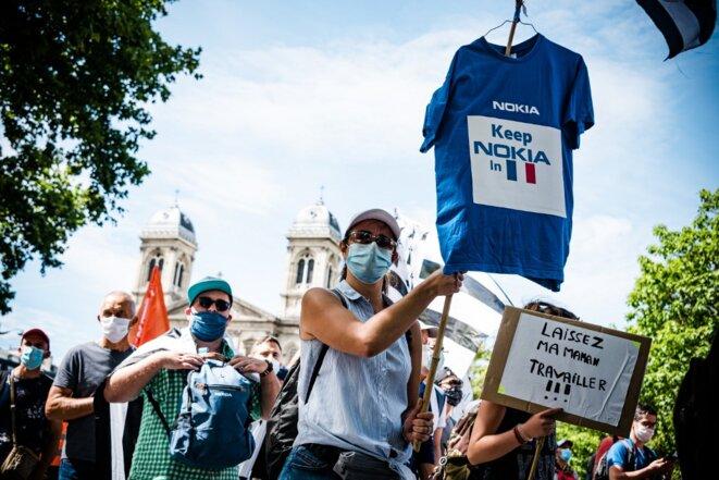 La manifestation parisienne des salariés de Nokia, le 8 juillet. © Samuel Boivin / NurPhoto via AFP