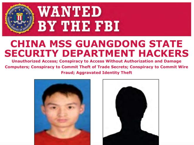 L'affiche de recherches du FBI à l'encontre de deux hackers chinois. © Capture d'écran/ministère de la justice américain