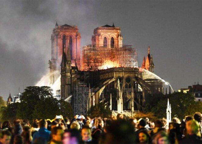 L'incendie qui a ravagé la cathédrale Notre-Dame de Paris, dans la nuit du 15 au 16 avril 2019