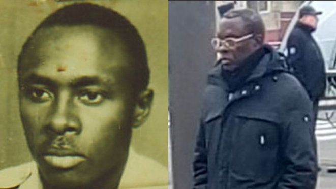 Left to right: an undated photo of Aloys Ntiwiragabo, and pictured on his way to church in February 2020 in Orléans. © DR