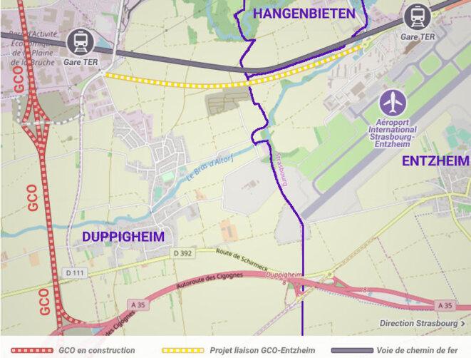 Projet de liaison GCO-Entzheim. Objectif officieux : donner un accès à la zone industrielle d'Enzheim/Holtzheim (accessoirement à l'aéroport). © GCO NON MERCI