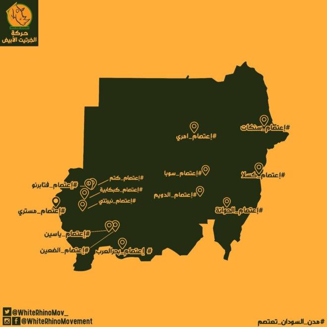 Carte des sit-ins initiés début juillet dans le pays, éditée par le Mouvement du Rhinocéros Blanc (voir leurs réseaux sociaux).