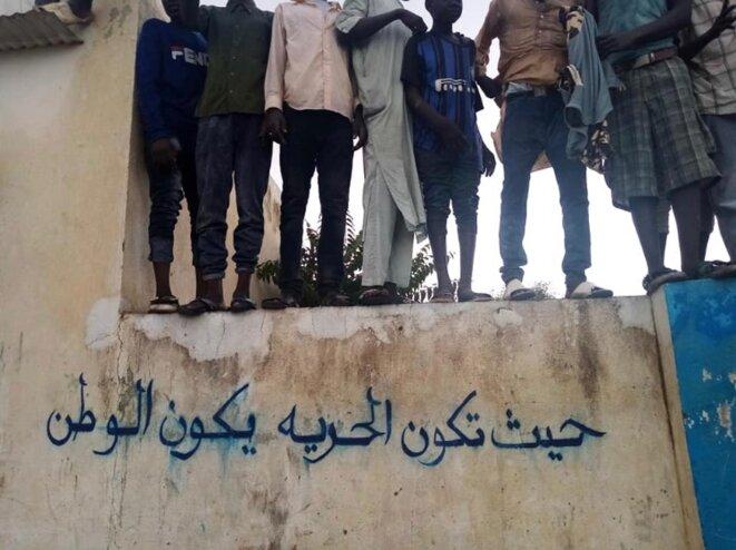 """""""Là où il y a la liberté, il y a une nation"""", à Kabkabia le 14 juillet. Twitter @MohanadElbalal"""