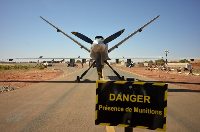 A French Reaper drone parked at its military base in Niamey, Niger, on December 15th 2019. © Daphné Benoit/AFP