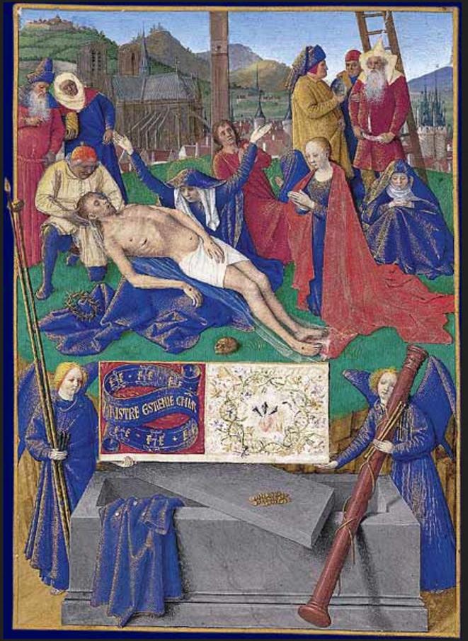 Jean Fouquet – Déposition de croix, livre d'heures d'Étienne Chevalier (milieu du XVe siècle) – Musée Condé, Chantilly