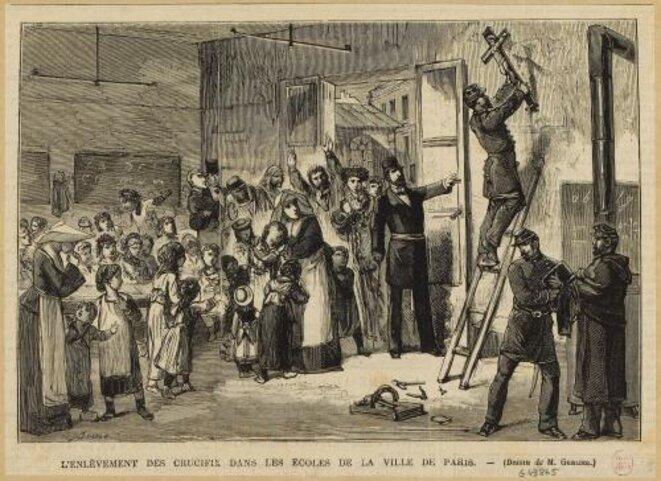 Enlèvement des crucifix dans les écoles parisiennes - Gravure - Musée Carnavalet