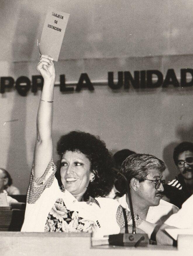 Monica Baltodano, lors du 1er Congrès du FSLN en 1991 © Kassandra