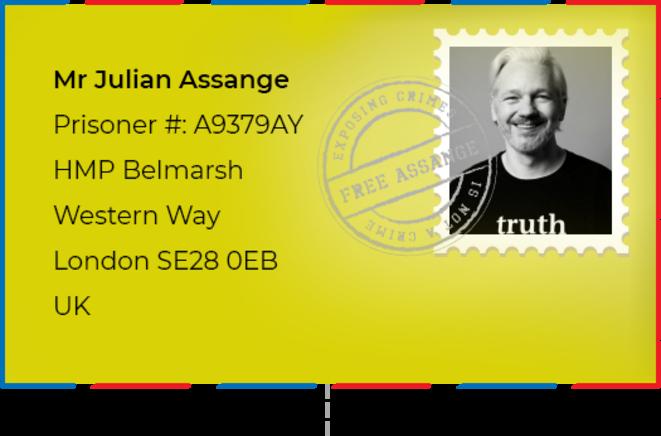 Ecrivez à Julian Assange, déténu en prison de Haute Sécurité (Angleterre)