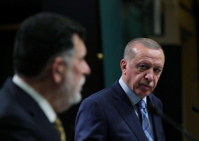 Le président du GNA Al Sarraj et le président turc Erdogan