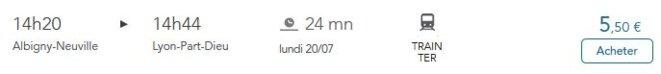 Mont-Versun à Lyon : une treintaine de minutes par les trasnports en commun.. © SNCF, horaires et prix