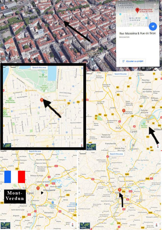 De haut en bas, et de gauche à droite : difficile de croire que la veille géo-spatiale au Mont-Verdun, qui voit à des millions de kilomètres, ne soit pas au courant qu'un Ovni triangulaire passe sur la rue Masséna ou stationne sur une barre d'immaubles, à Villeurbanne. © Pierre-Gilles Bellin