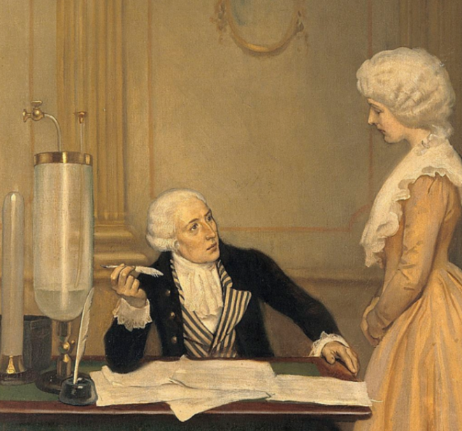 Lavoisier expliquant le résultat de ses expériences sur l'air à sa femme. © Huile sur toile d'Ernest Board