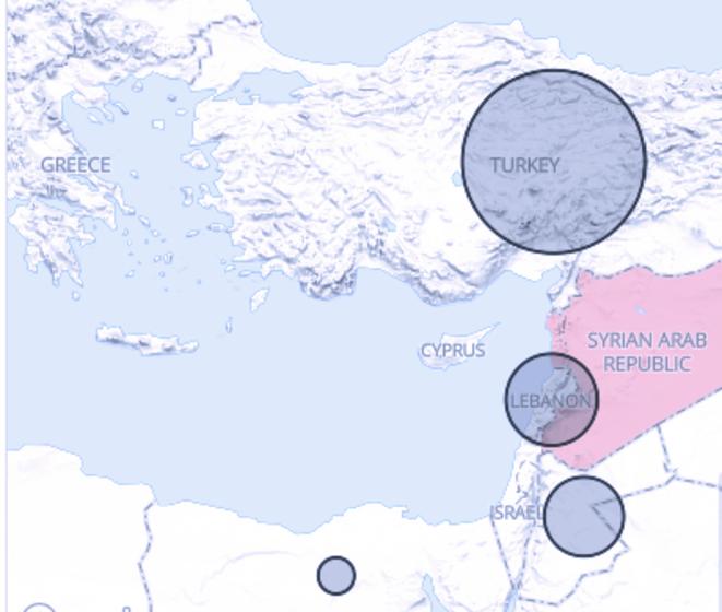 Les pays voisins de la Syrie - Turquie, Liban et Jordanie - accueillent près de 90% des réfugiés syriens
