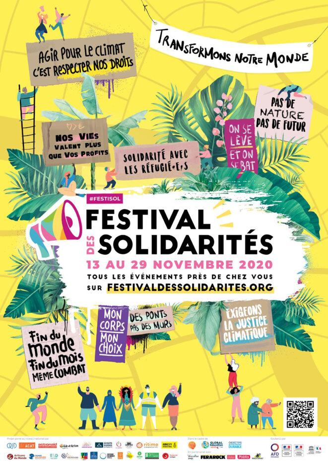 Affiche de l'édition 2020 du Festival des Solidarités © AnGi