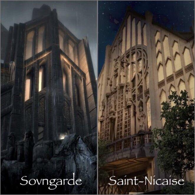 """Sovngarde à Saint-Nicaise © Montage LAM / Caroline Bazin & Maxime Jouet (Crédits photo) """"Façade nocturne éclairée de l'Église-Brasserie"""""""
