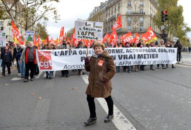 Des salariés de l'Afpa manifestent, en 2012. © Miguel Medina / AFP