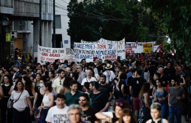 Une manifestation à Athènes le 9 juillet 2020 contre le projet de loi restreignant les rassemblements. © Kostis Ntantamis/Sputnik/AFP