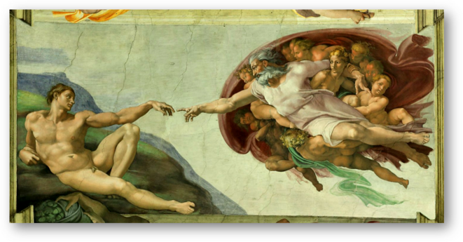 La création d'Adam, Michel-Ange, 1508-1512 - Fresque sur voûte, Chapelle Sixtine, Vatican