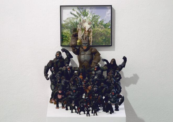 """Lydie Jean-Dit-Pannel, """"Mes Rois"""", Installation, 2018 Figurines de King Kong (80 selon les organisateurs, 3 selon la police), photographie couleur, boîte entomologique, bois. © Anne-Lise Ragno"""