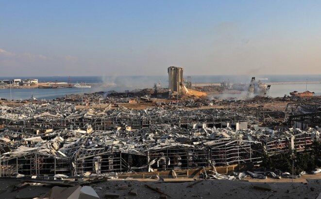 La zone du port de Beyrouth, le 5 août, au lendemain des explosions. © Anwar Amro / AFP