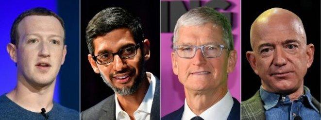 Mark Zuckerberg (Facebook), Sundar Pichai (Google), Tim Cook (Apple) y Jeff Bezos (Amazon). © BERTRAND GUAY, ANGELA WEISS, Tobias SCHWARZ, Mark RALSTON/AFP