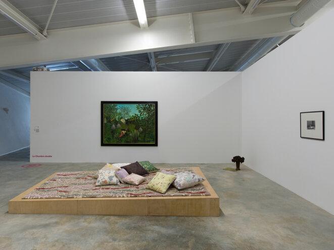 """Vue de l'exposition """"Narcisse ou la floraison des mondes"""", commissariat : Sixtine Dubly et Claire Jacquet, Frac Nouvelle-Aquitaine MECA, Bordeaux, 2020. © André Morin"""