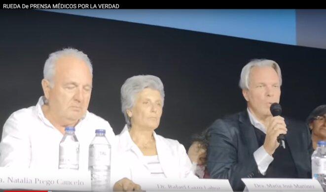 """Madrid, Juillet 2020, conférence """" Rueda de prensa Médicos pour la verdad """""""